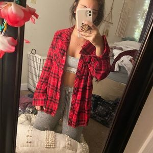 black and red oversized flannel